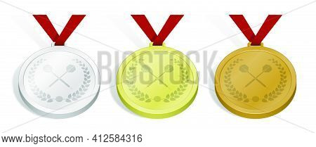Set Of Sport Medals With Emblem Of Crossed Sports Dart Arrow With Laurel Wreath For Darts Competitio