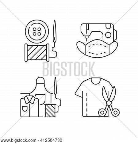 Clothing Alteration Linear Icons Set. Button Replacement. Mask Sewing. Work Wear Fix. Resizing Shirt