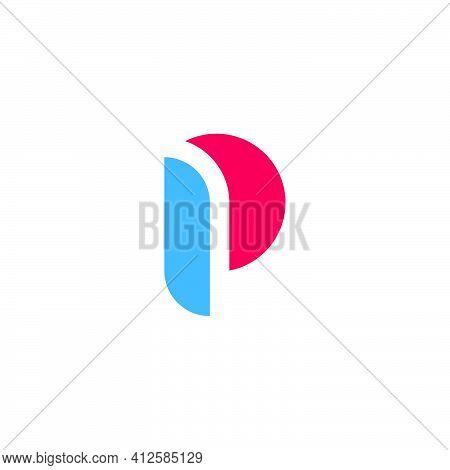 Letter P Curves Geometric Simplicity Concept Logo Vector