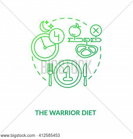 The Warrior Diet Dark Green Concept Icon. Healthy Eating Pattern. Dietary Strategy. Intermittent Fas