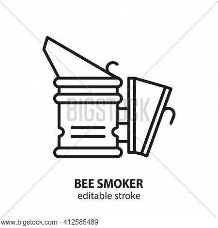 Bee Smoker Flat Line Vector Icon. Editable Stroke.
