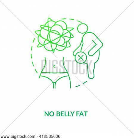 No Belly Fat Dark Green Concept Icon. Diet And Healthy Eating. Small Waist. Intermittent Fasting Die