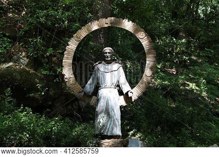 Assisi, Italy - June 29, 2014: The Statue Of St. Francis Of Universal Love (s. Francesco Dell'amore