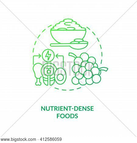 Nutrient Dense Foods Dark Green Concept Icon. Healthy Diet. Weight Loss. Improve Metabolism. Intermi