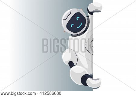 Cute Robot Look Out Corner Blank Banner Template With Space For Text. Cyborg Character Holding Empty
