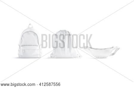 Blank White Sport Bags Mockup Set, Front View, 3d Rendering. Empty Backpack, Drawstring And Waist Po