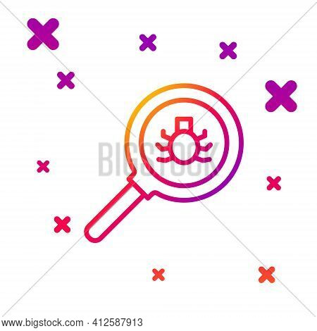 Color Line Flea Search Icon Isolated On White Background. Gradient Random Dynamic Shapes. Vector