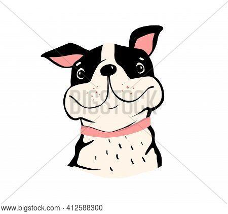 Pug Or Bulldog Illustration, Cute Animal Design Of Funny Smiling Happy Dog. Vector Dog For Kids Illu