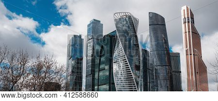 Moscow, Russia - February 20, 2020: Moscow City. View Of Skyscrapers Moscow International Business C