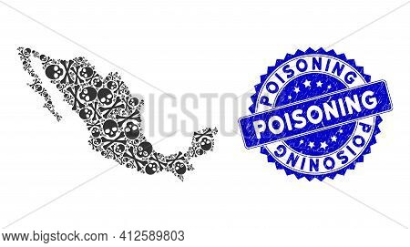 Mexico Mosaic Map Composed Of Death Skull Design Elements, And Poisoning Grunge Badge. Vector Death