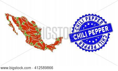 Mexico Mosaic Map Designed From Chili Pepper Items, And Chili Pepper Grunge Stamp. Vector Chili Pepp