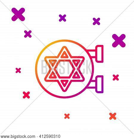 Color Line Jewish Synagogue Building Or Jewish Temple Icon Isolated On White Background. Hebrew Or J