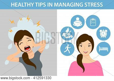 Cope With Stress And Anxiety In Time . A Modern Flat Design Illustration Of A Worried, Screaming, St