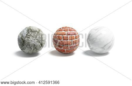 Blank Stone, Brick, Marble Ball Mockup Set, 3d Rendering. Empty Round Surface Material For Wall Mock