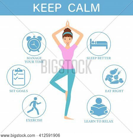 Keep Calm. Manage Stress And Anxiety During Emergencies, Infographic.