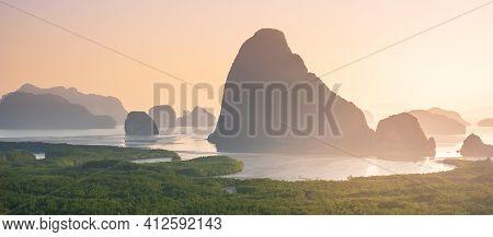 Scenery Phang Nga Bay View Point At Samet Nang She Near Phuket In Southern, Thailand., Landmark And