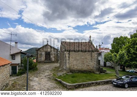 Belmonte, Portugal; May 2017 : Medieval Chapels Of Saint Anthony And Calvary At Belmonte. A Cute Sma