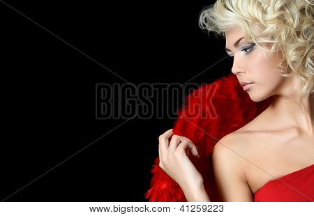 Beautiful girl in suit of red angel