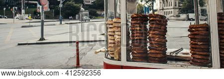Traditional Turkish Pastry On Concession Stand On Unban Street, Istanbul, Turkey, Banner.