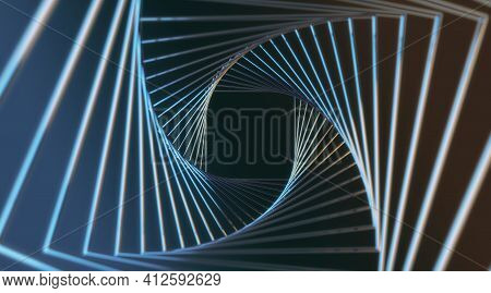 Abstract Stylish Background With Steel Spokes Spiral Effect On Dark Background. 3d Rendering