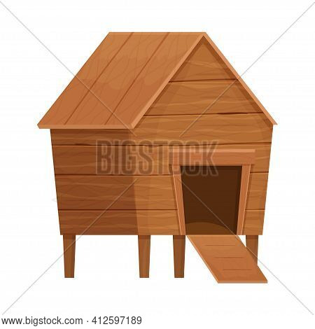 Funny Wooden Hen House In Cartoon Style, Farmyard Building Isolated On White Background Stock Vector