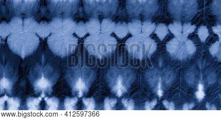 White Shibori Style. Zigzag Vintage Print. Abstract Colored Spots. Indigo Bohemian Fabric. Dyed Patt