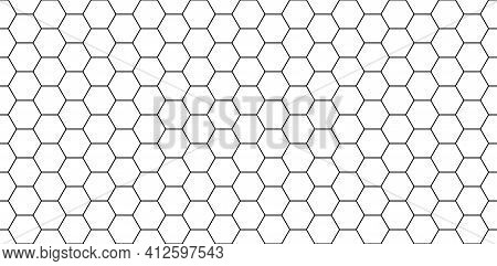 Hexagon Seamless Pattern. Honeycomb Background. Texture With Hexagon Of Honey Comb. Black Grid Of Be
