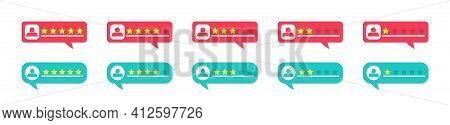 Review, Rate And Feedback From Customers. Bubbles With Stars For Testimonial. Online Rating For Clie