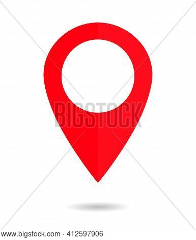 Pin Of Map. Icon Of Drop Pin. Place Of Location. Red Gps Marker. Geo Point For Position And Navigati