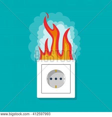 Fire In Electric Socket. Electric Short In Socket With Fire And Smoke. Safety Of Outlet From Acciden