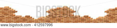 Brick Wall Broken. 3d Isometric View. Seamless Brick Wall Destroyed Of Building Or House Ruins. Back