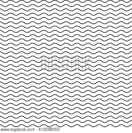 Wave Line Pattern. Seamless Wavy Texture. Background Of Water, Sea, Ocean And Travel. Simple Black G