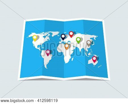 World Map With Pin Of Location. Paper World Map For Travel, Business And Tourism. Template Of Earth