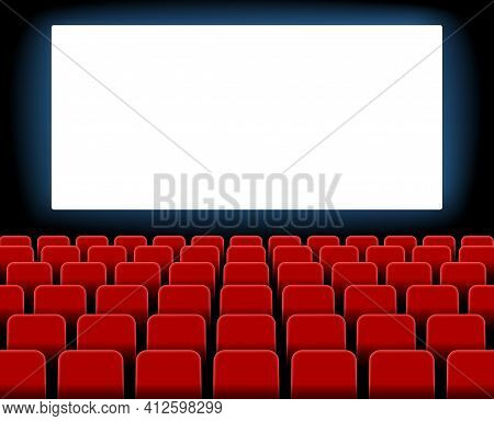 Cinema Screen. Cinema With Screen And Seat. Theater Hall With Interior. Auditorium For Movie, Theatr
