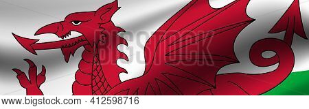Banner With The Flag Of Wales. Fabric Texture Of The Flag Of Wales.