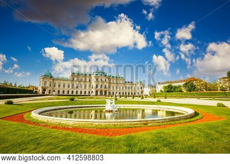 VIENNA, AUSTRIA - MAY 2016: Belvedere Schloss historic building complex museum. Palace built by Johann Lukas von Hildebrandt as a summer residence for Prince Eugene of Savoy. Beauty of earth.