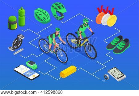 Sport Cycling Isometric Composition With Flowchart Of Bike Riders Equipment With Smartphone Trackers