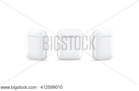 Blank White Closed Headphones Case Mockup, Front And Side View, 3d Rendering. Empty Wireless Electro