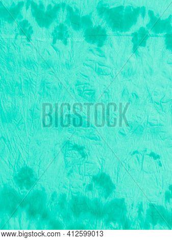 Green Tie And Dye. Watercolor Blots. Painted Wallpaper. Aquamarine Vintage Wrinkled Paper. White Dir