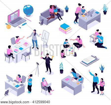 Homeschooling Isometric Set With Parents Helping Studying Children Creating Informal Learning Space