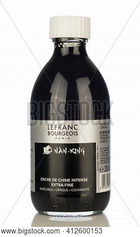 Niedersachsen, Germany March 15, 2021: A Glass Bottle Of Lefranc Bourgeois Black China Ink Isolated
