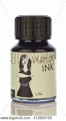 Niedersachsen, Germany March 15, 2021: A Glass Bottle Of Rohrer And Klingner Sketching Ink Isolated