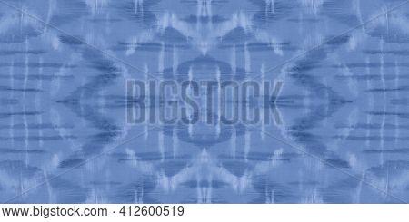 Indigo Shibori Pattern. Sea Ethnic Watercolor Painting. Ocean Paintbrush Strokes. Blue Paint Textile