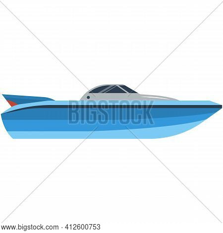 Boat Vector, Speedboat Or Motorboat Icon Isolated On White