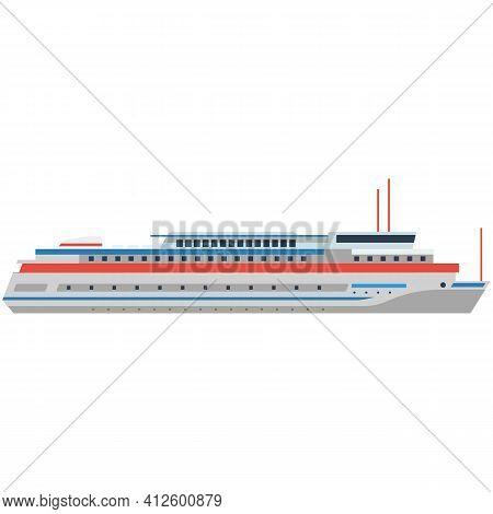 Cruise Liner Ship Vector Ocean Boat Illustration For Sea Travel