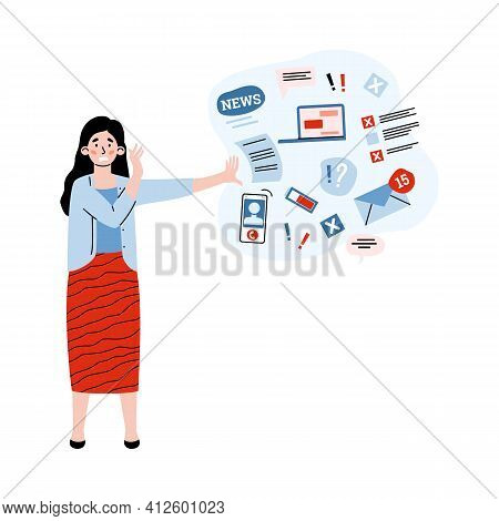Woman Overwhelmed Information In Stress Push Away Data Stream.
