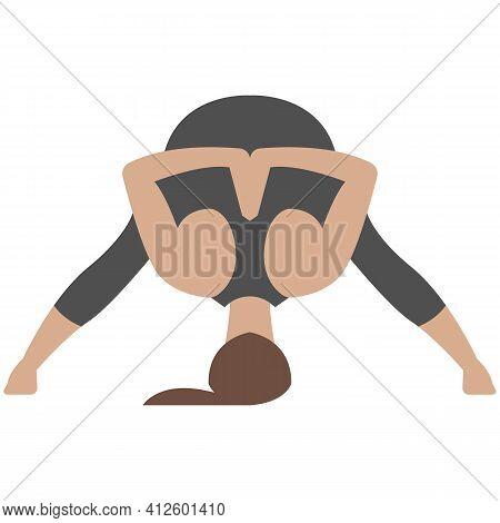 Yoga Downward Pose Prasanta Vector Woman Isolated