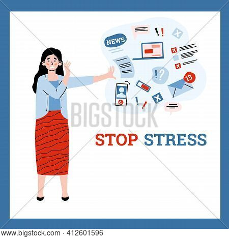 Stop Informational Stress Banner With Cartoon Woman Vector Illustration Isolated.