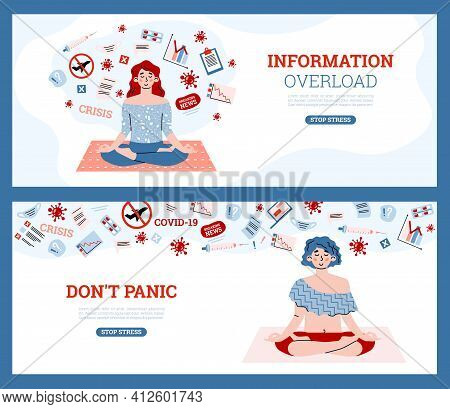 Information Overload And Stress Relieving Banners, Cartoon Vector Illustration.