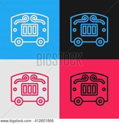 Pop Art Line Circus Wagon Icon Isolated On Color Background. Circus Trailer, Wagon Wheel. Vector
